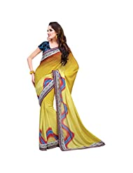 Elegant Yellow Colored Faux Georgette Saree