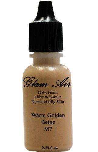 Glam Air Airbrush M7 Warm Golden Beige Matte Foundation Water-Based Makeup (Ideal For Normal To Oily Skin) (0.50 Oz)