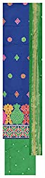 Natural handloom Women's Cotton Silk Unstitched Dress Material (Blue and Green)