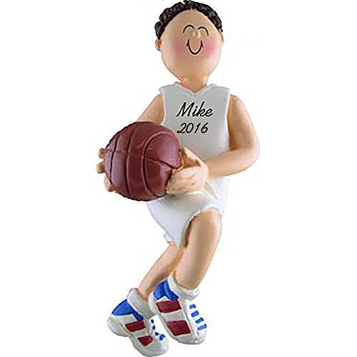 Basketball Boy Brunette Personalized Christmas Ornament