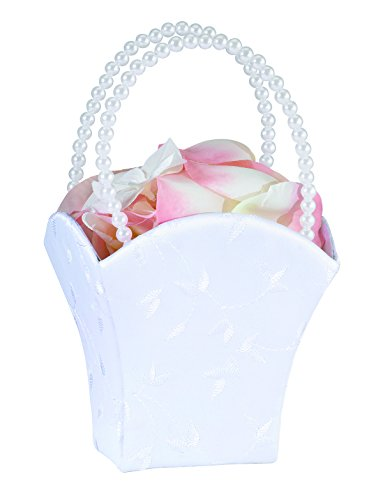 Lillian Rose Embroidery Elegant Wedding Flower Basket, 8.5-Inch, White