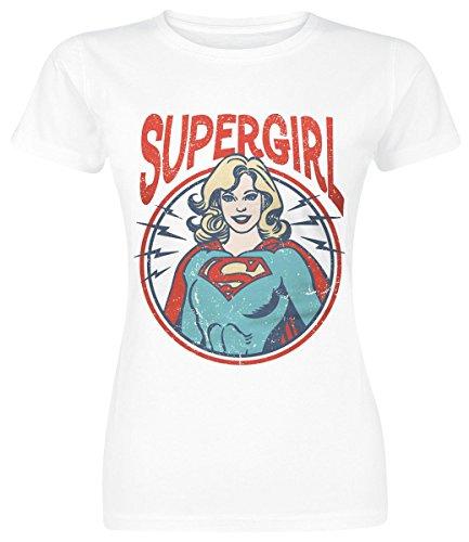 Supergirl Retro Circle Maglia donna bianco XL