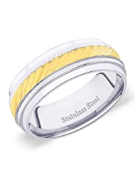 8 Mm Peora 316L Stainless Steel 2 Tone Step Edge Men's Band Diagonal & Vertical Grooves (PSR248)