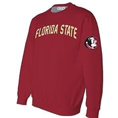 NCAA Florida State Seminoles Mens Crimson Embroidered Crew Sweatshirt by E5
