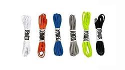 Demoda Round Shoelaces(Pack of 6-Black,Neon green,Orange,Blue,Grey,White)