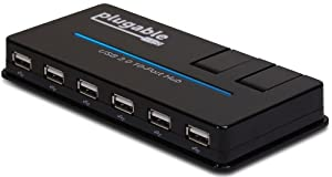 Plugable® USB 2.0 10-Port High Speed Hub with 20W Power Adapter EU & UK Mains and Two Flip-Up Smart Charging Ports (BC 1.2 Charging Support for Apple iPhone and iPad, Samsung Galaxy, Google Nexus, Motorola Droid, HTC One, Sony Xperia, Nokia Lumina, and more.)