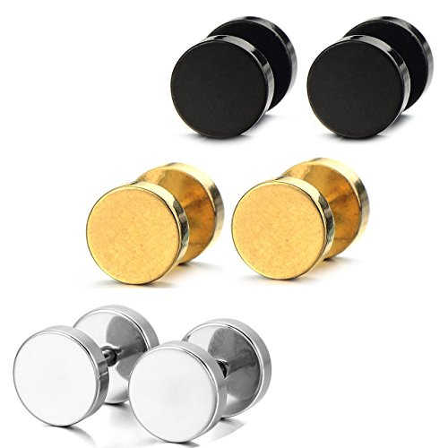 Areke Mens Stainless Steel Screw Stud Earrings Unisex Womens Ear Plugs Tunnel Jewelry 3 Pairs Color Black Gold Silver (Italian Horn Bone compare prices)