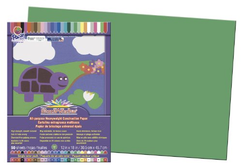 "SunWorks Construction Paper, 12""X18"", Green, 50 Sheets"