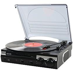 Jensen JTA-230 3 Speed Stereo Turntable with Built In Speakers; Vinyl Player