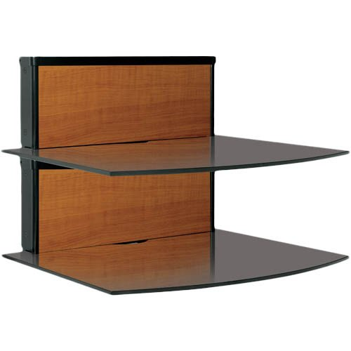 Bell'O BWS101 Two-Shelf Component Wall Shelf System with Multiple Wood Finish Panels or Paintable Options (Black)