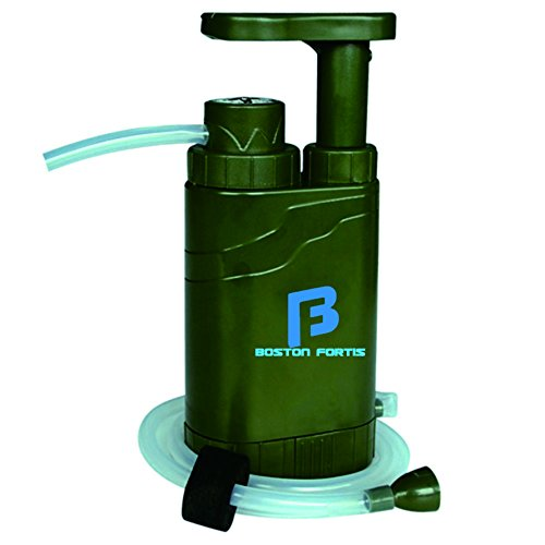 Boston Fortis Explorer Pro - Multifunctional Portable Outdoor Water Filter Purifier 0.1 Micron for Camping, Hiking, Backpacking, Traveling and Prepping, with 5 Additional Emergency Features (Camping Water System compare prices)