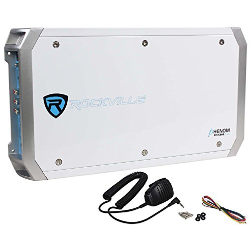 Rockville RXM-F4 Marine 4 Channel Amplifier 2400 Watt/1200w RMS+PA Microphone
