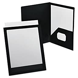 Oxford® ViewFolio Polypropylene Portfolio, 50-Sheet Capacity, Black/Clear