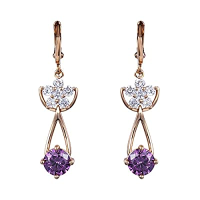 Spades & Clubs Fashion Women Gold Plated Bling Bling Colorful Rhinestone Crystal Floral Dangle Drop Earrings