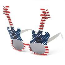 Unique Guitar Design Festival Sunglasses in Red/White/Blue
