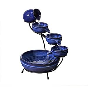 Poseidon Blue Ceramic Solar Cascade Water Feature Garden Outdoors
