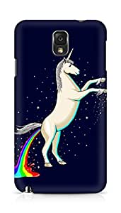Amez designer printed 3d premium high quality back case cover for Samsung Galaxy Note 3 (Unicorn Shitting Rainbows)