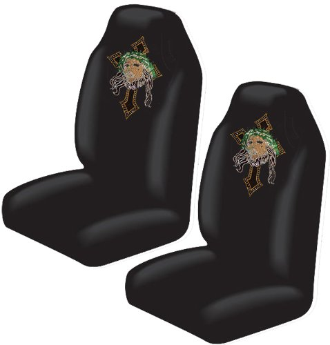 Jesus Christ w/ Cross with Cross Gem Crystals Studded Rhinestone Car Truck SUV Bucket Seat Covers - Pair