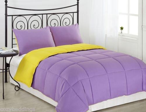 Purple/Yellow 3Pc Reversible Down Alternative Comforter Set Twin Full/Queen King front-1039738
