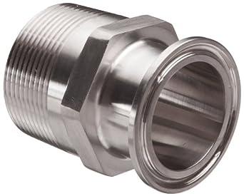 "Parker Sanitary Tube Fitting, Stainless Steel 304, Adapter, 1-1/2"" Tube OD x 1-1/2"" NPT Male"