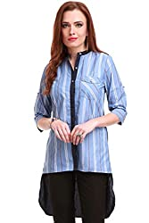 Blue Stripes High Low Shirt