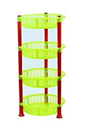 NOVICZ 4 Layer Kitchen Rack Stand Fruits Vegetable Rack Storage Household Office Rack Storage Stand -Yellow