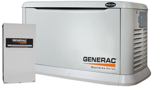 Generac Guardian Series 5875 20,000 Watt Air-Cooled Liquid Propane/Natural Gas Powered Standby Generator With Transfer Switch (CARB Compliant)