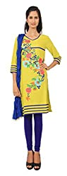 Rama Suit Set of Yellow Color Embroidered V Neck 3/4 Sleeve Women Kurti & Blue Color Legging & Duppatta