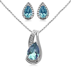 Sterling Silver Pear Blue Topaz Pendant Necklace and Earrings Diamond Box Set by Amazon Curated Collection