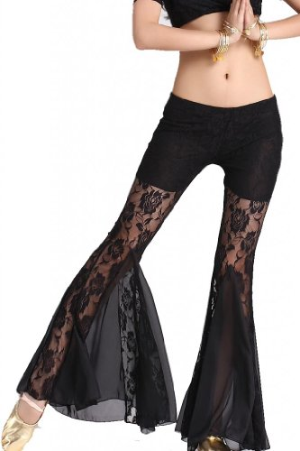 ZLTdream Women's Belly Dance Lace Fishtail Pants Black (Belly Fish compare prices)