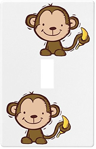 Kid'S Monkey And Banana Wallplate Decorative Light Switch Plate Cover (1 Gang - Single Toggle) front-980068