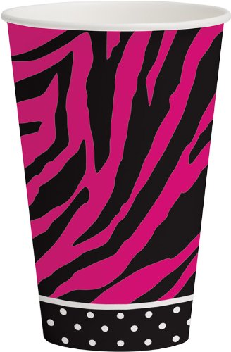 Creative Converting Pink Zebra Boutique Hot or Cold Beverage Cups, 8 Count