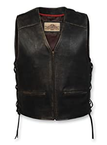 Milwaukee Motorcycle Clothing Company Men's Distressed Leather Lined Vest with Side Lace (Large)