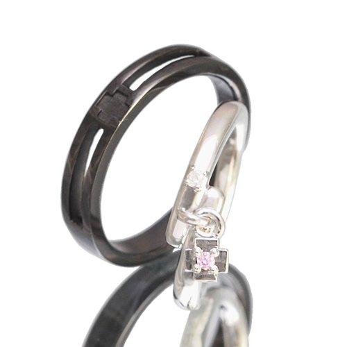 クロスペアリング/Ti Amo 十字架 ダイヤモンド 指輪 2個セット pair ring ケース付き 【メンズブラックタイプ21号】【レディースプラチナタイプ・ピンクチャーム23号】