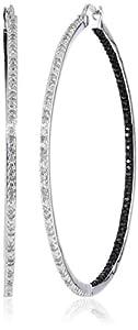 Sterling Silver Black and White Diamond Hoop Earrings (1 Cttw), 2
