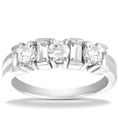 1.20 ct Ladies Round Cut and Baguette Cut Diamond Wedding Band In Channel Setting in 18 kt White Gold