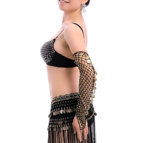 (Price/Pair) BellyLady Belly Dance Tribal Gloves, Slave Bracelet with Coins