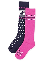 2 Pairs of Cotton Rich Thermal Heart Welly Socks