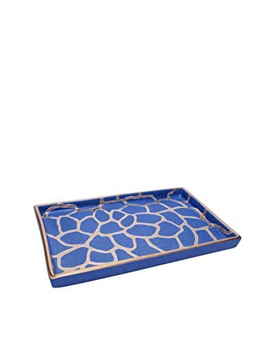Waylande Gregory Giraffe Print Xl Rectangle Tray, Blue/Platinum