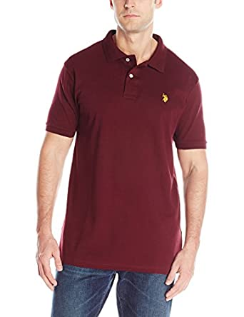 U.S. Polo Assn. Men's Solid Interlock Short Sleeve Polo, Burgundy, Small