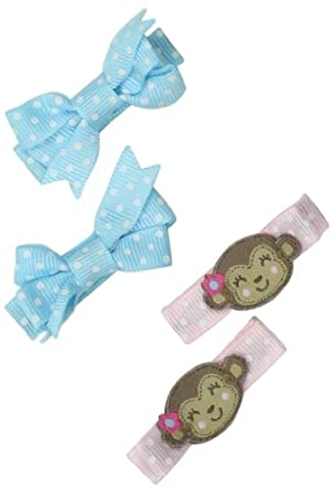 Carter's Hosiery Baby-Girls Newborn 4 Pack Monkey Grosgrain Hair Clips, Pink/Tan/White/Blue, One Size
