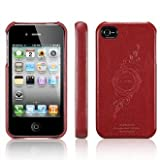 SGP アイフォン 4 / 4S ケース レザーグリップ 【 INFINITY RED 】 液晶保護シートセット 本革 for iPhone 4 / 4S