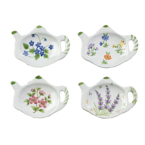 Best Review Of Floral Porcelain Teapot Shaped Tea Bag Holders (Set of 12)