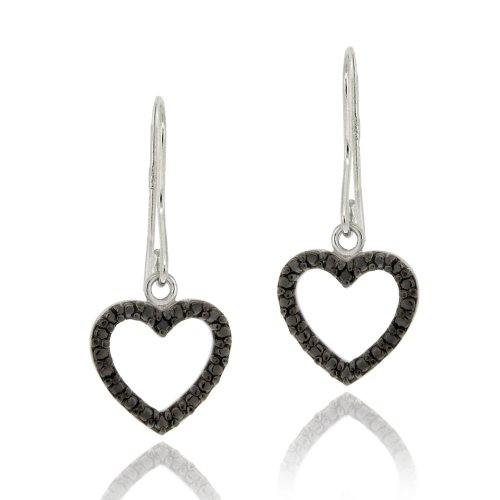 Sterling Silver Black Diamond Accent Open Heart Dangle Earrings