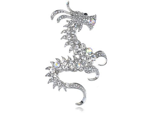 Cool Silver Tone Finish Clear Czech Crystal Rhinestone Dragon Fashion Broach Pin