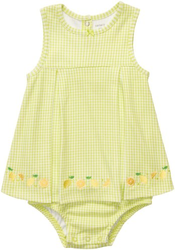 Carter's Baby Girls' Lime Checkered with Lemons Sunsuit Romper