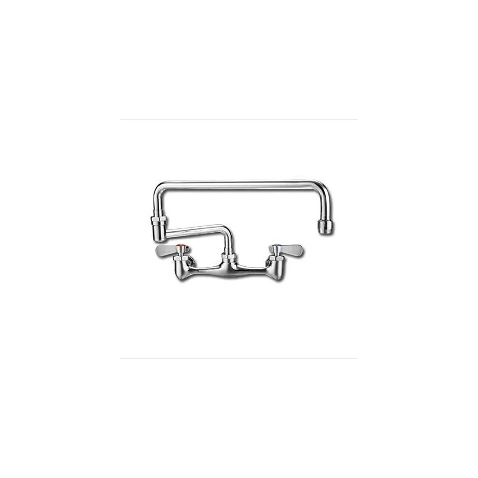 Whitehaus WHFS813 POCH Wall Mount 18 Inch Laundry Faucet with Double Jointed Retractable Swing Spout and Lever Handles, Polished Chrome