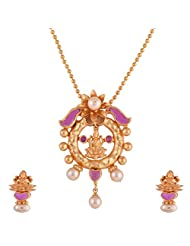Ganapathy Gems 1 Gram Gold Plated Lakshmi Design Pandent Earing Set With Ruby CZ Stones And Pearls Without Chain...
