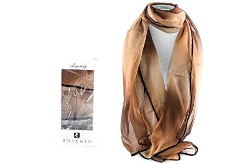 Foulard RONCATO mujer de chiffon sfumato marrón bufanda en box regalo L1183