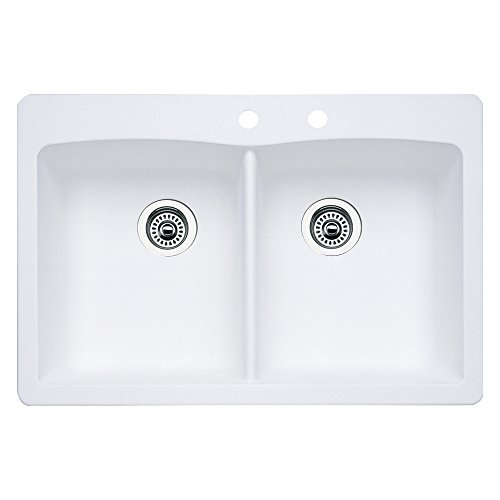 Blanco 440221-2 Diamond 2-Hole Double-Basin Drop-In or Undermount Granite Kitchen Sink, White